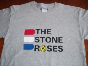 MENS RETRO ICONIC `THE STONE ROSES` TRI-COLOUR T-SHIRT (1)